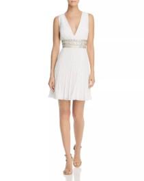 BCBGMAXAZRIA Pleated Georgette White Dress