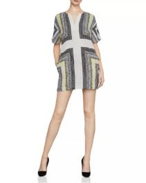 BCBGMAXAZRIA Scarf-Print Shift Black Dress