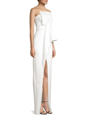 BLACK HALO Jonas Asymmetrical Draped Cream Gown