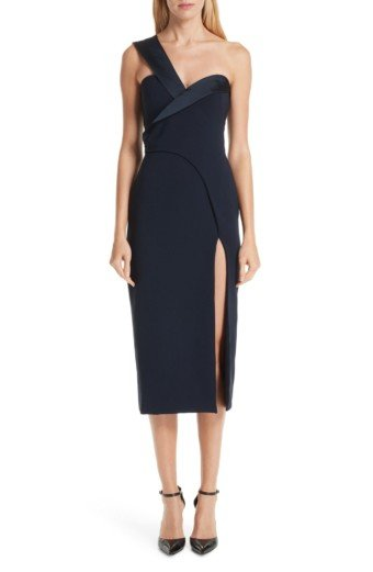 BRANDON MAXWELL Fold Over One-Shoulder Navy Dress