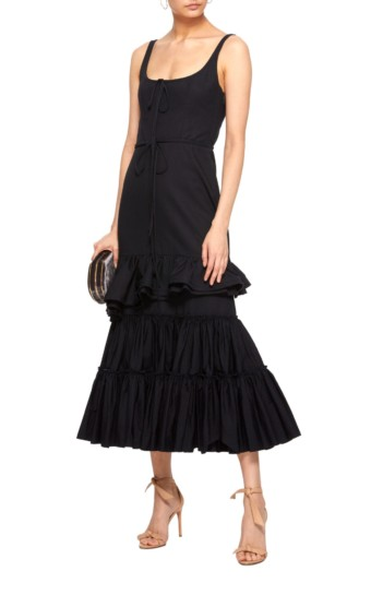 BROCK COLLECTION Onilde Tiered Ruffle Cotton-Poplin Midi Navy Dress