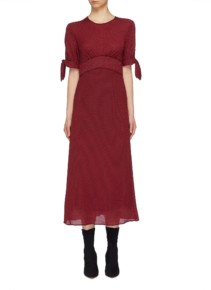 C/MEO COLLECTIVE 'Affix' Tie Sleeve Gingham Check Midi Red Dress