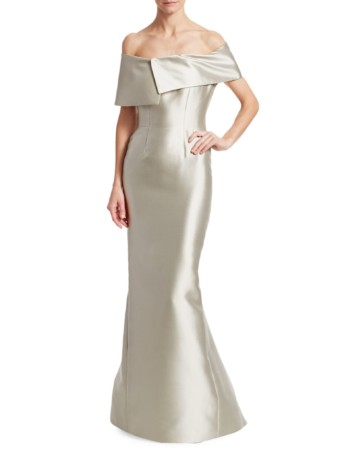 CATHERINE REGEHR Asymmetrical Metallic Silk & Wool Off-The-Shoulder Trumpet Oyster Gown