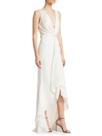 CINQ À SEPT Iris Plunging Twist High-Low Ivory Gown