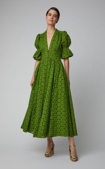 CULT GAIA Willow Cotton Lace Maxi Green Dress