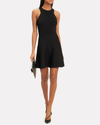 CUSHNIE Knit Fit-And-Flare Black Dress