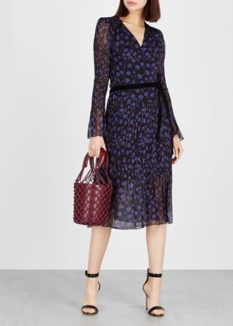 DIANE VON FURSTENBERG Ani Silk Chiffon Wrap Black / Printed Dress