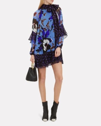 DIANE VON FURSTENBERG Effie Tie Neck Blue / Purple Dress