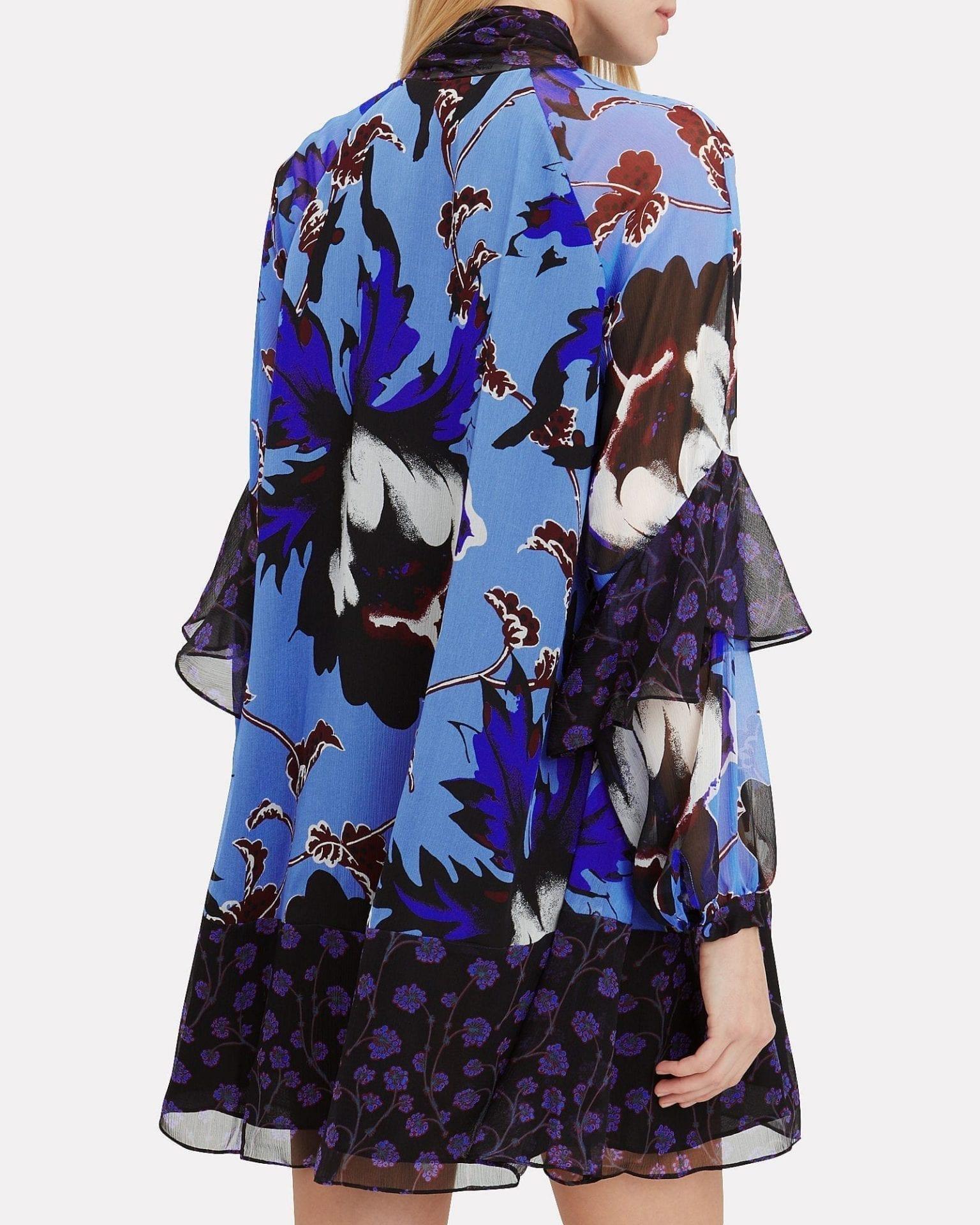 DIANE VON FURSTENBERG Effie Tie Neck Blue / Purple Dress