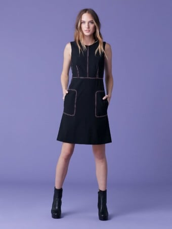 DIANE VON FURSTENBERG Tedi Seam Black Dress