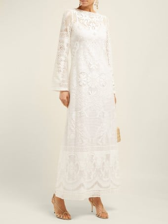 DOLCE & GABBANA Cherub And Floral-lace Cotton-blend Maxi White Dress