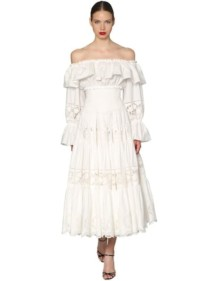 DOLCE & GABBANA Off The Shoulder Poplin White Dress