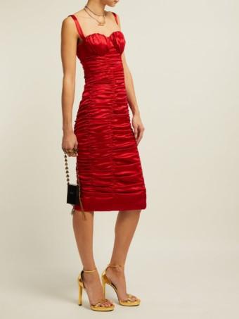 DOLCE & GABBANA Ruched Silk-blend Satin Midi Red Dress