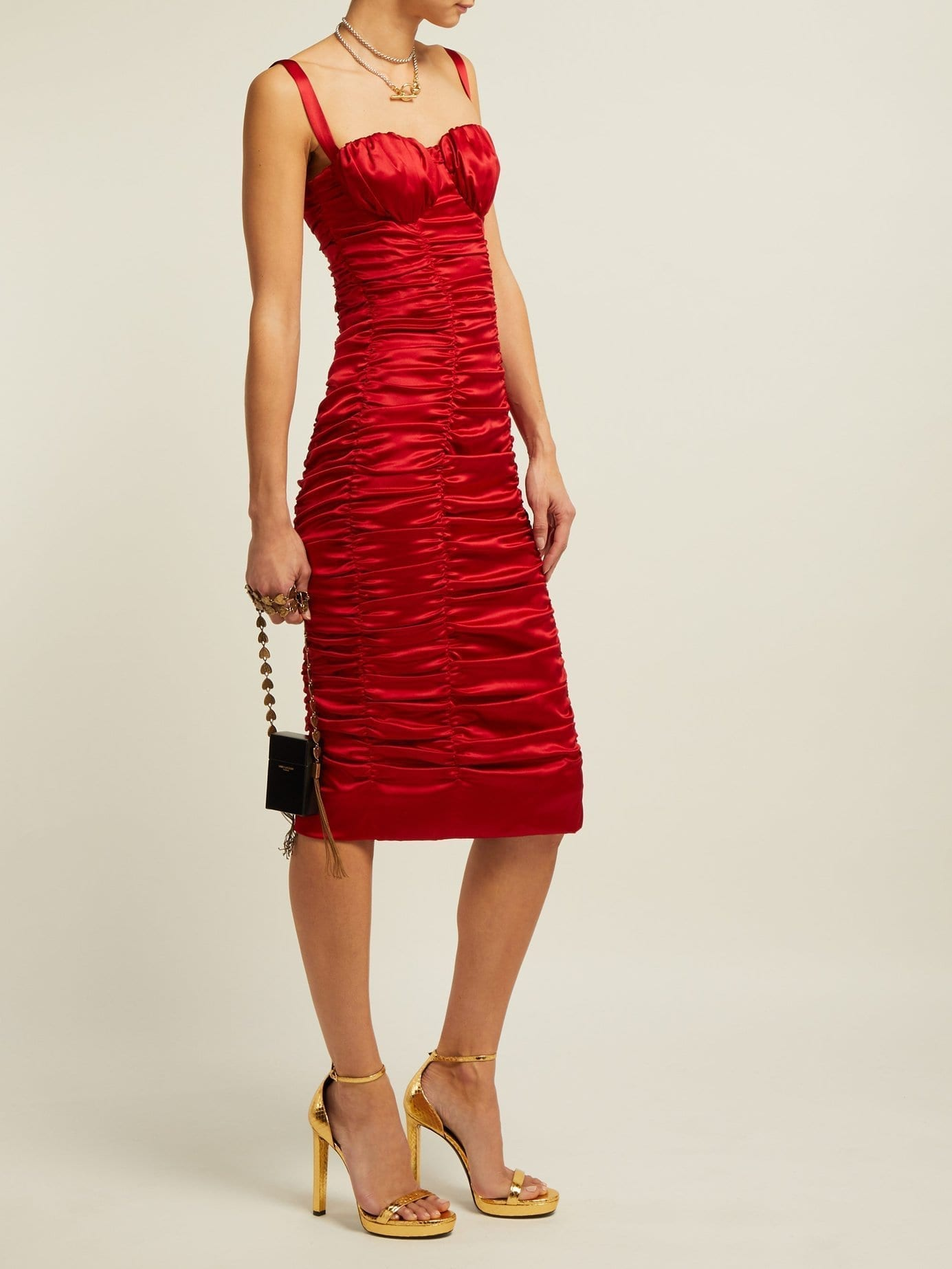 DOLCE & GABBANA Ruched Silk-blend Satin Midi Red Dress