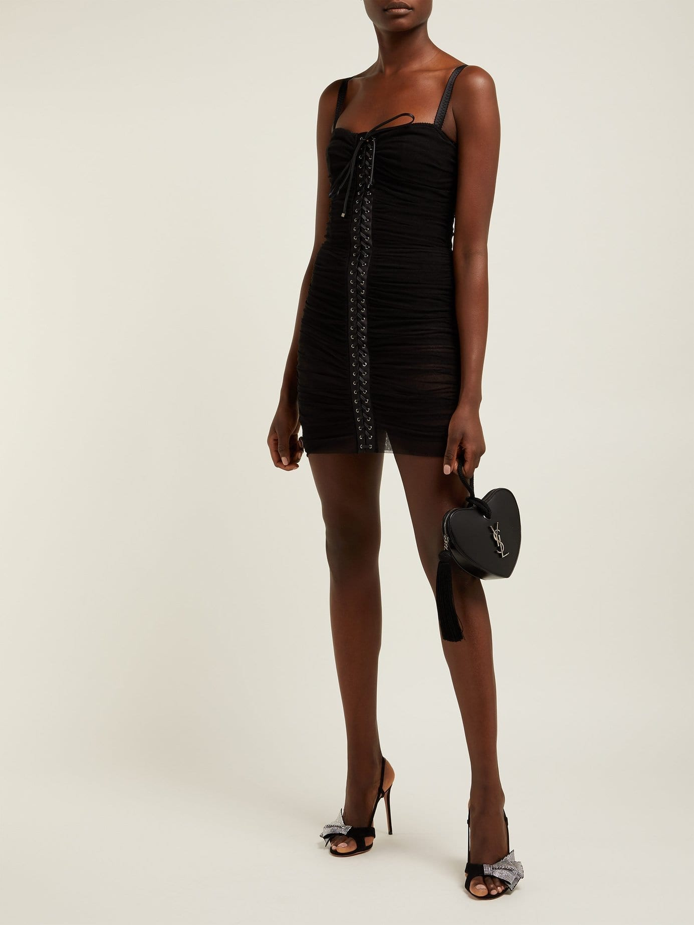 65151f2f364 DOLCE   GABBANA Ruched Tulle Lace-up Corset Black Dress - We Select ...
