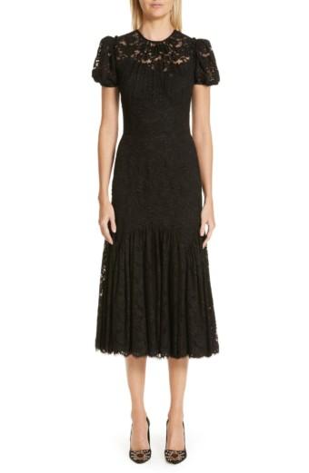 DOLCE&GABBANA Ruffle Lace Black Dress