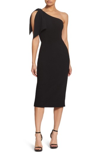 DRESS THE POPULATION Tiffany One-Shoulder Midi Black Dress
