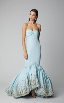 ELIZABETH KENNEDY Embroidered Silk-Satin Mermaid Blue Gown