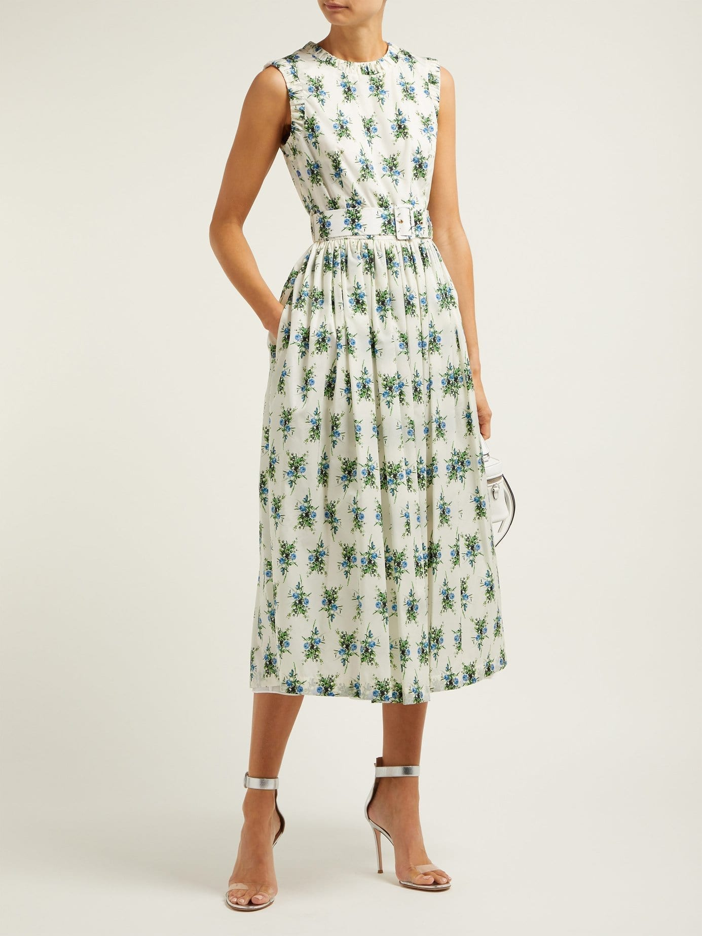 EMILIA WICKSTEAD Maidy Rubberised Midi White / Floral Printed Dress