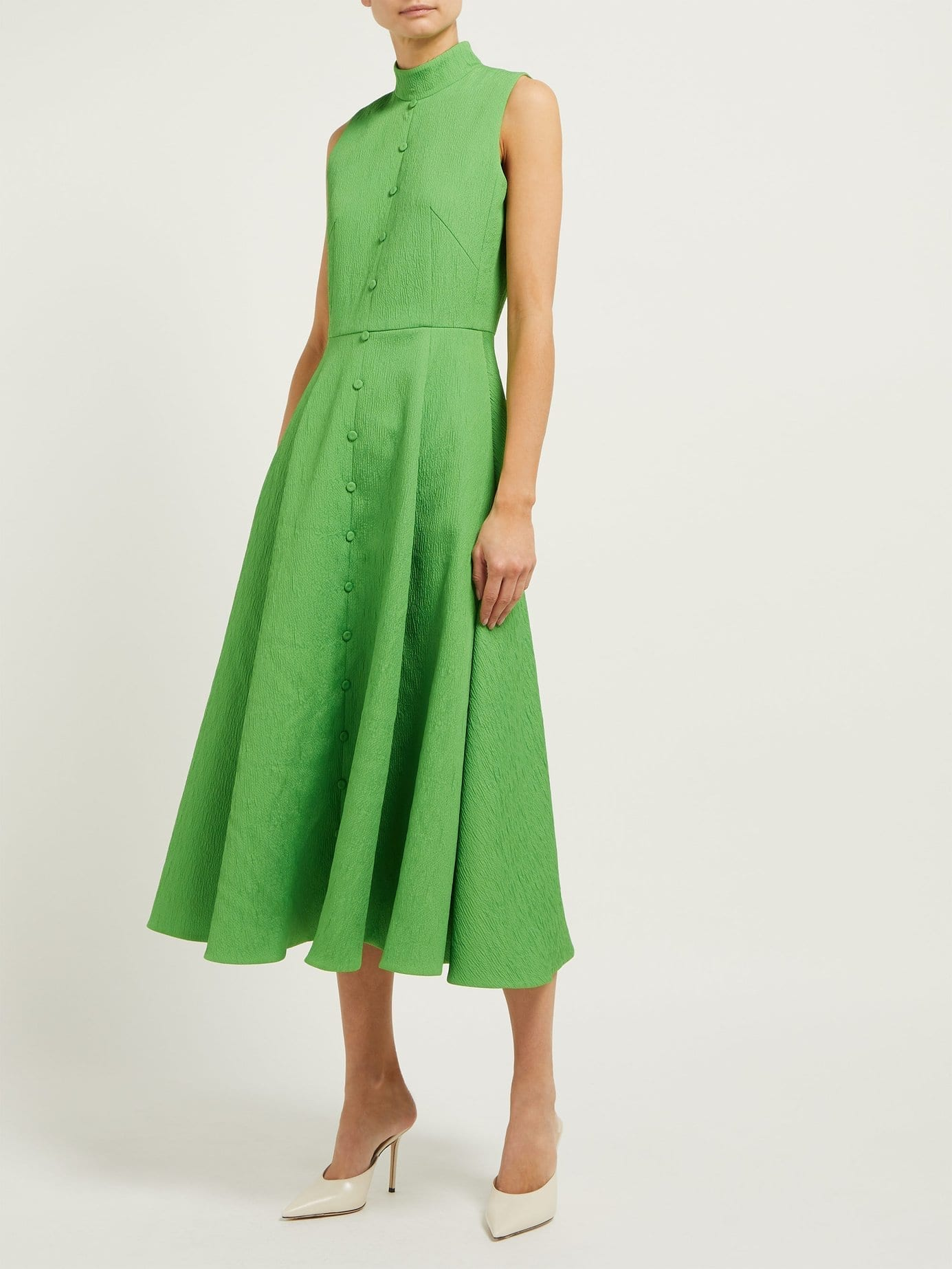 EMILIA WICKSTEAD Sheila Cloqué-Textured Crepe Midi Green Dress