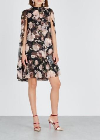 ERDEM Constantine Silk Black / Floral Printed Dress