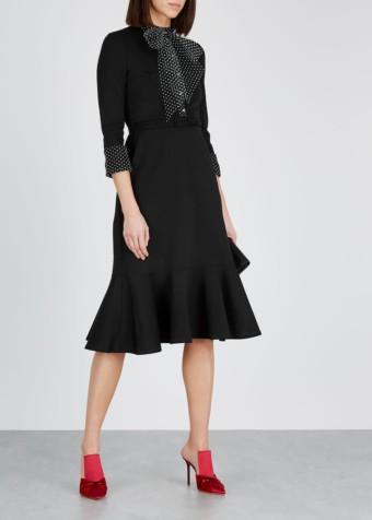 ERDEM Hilma Mesh-trimmed Jersey Black Dress