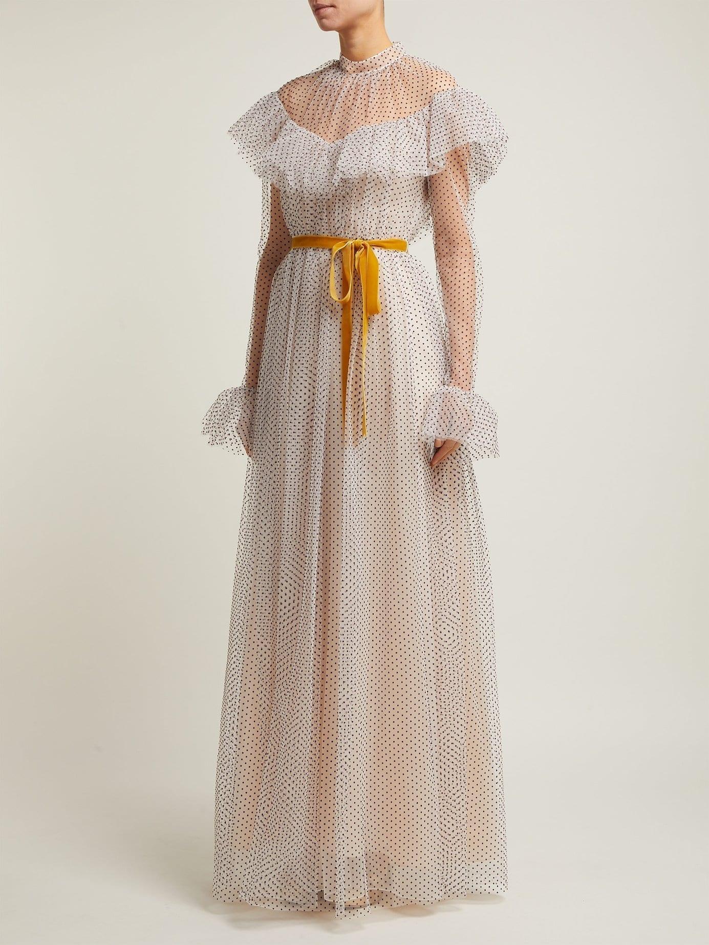 ERDEM Mirabelle Ruffled Polka-dot Tulle White Gown