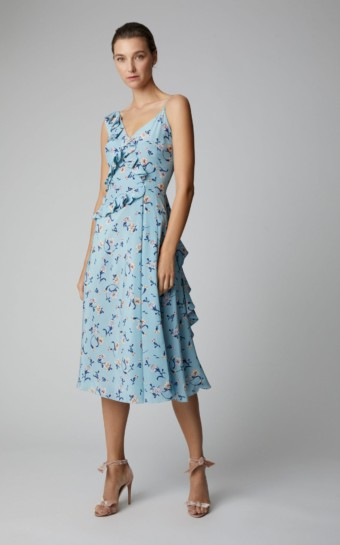 ERMANNO SCERVINO Asymmetric Silk-Crepe Midi Blue / Floral Printed Dress