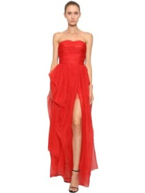 ERMANNO SCERVINO Strapless Silk Organza Red Dress