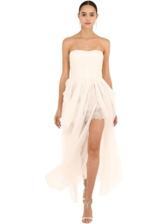 ERMANNO SCERVINO Strapless Silk Organza White Dress