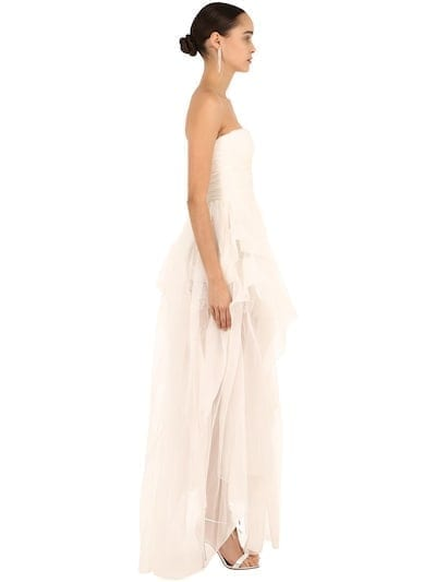 ERMANNO SCERVINO Strapless Silk Organza White Dress