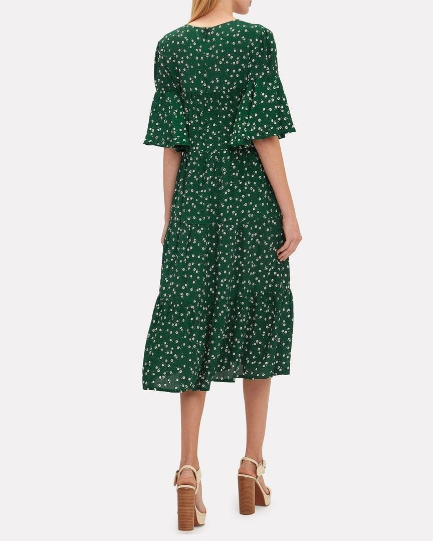 FAITHFULL THE BRAND Melia Midi Green / Floral Printed Dress