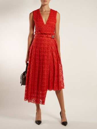 FENDI Belted Floral-embroidered Silk Orange Dress