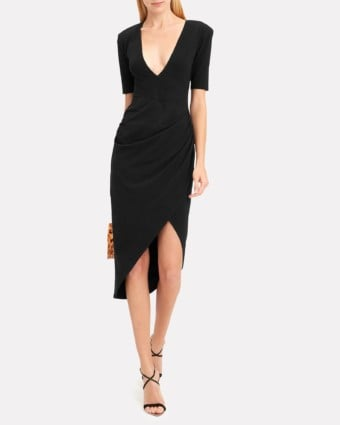 FLEUR DU MAL Deep-V Midi Black Dress