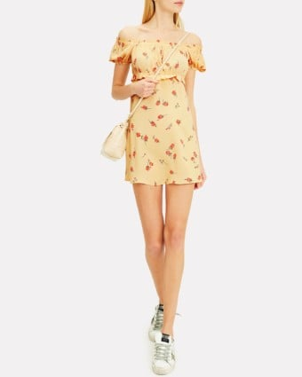 FLYNN SKYE Lou Mini Yellow / Floral Printed Dress