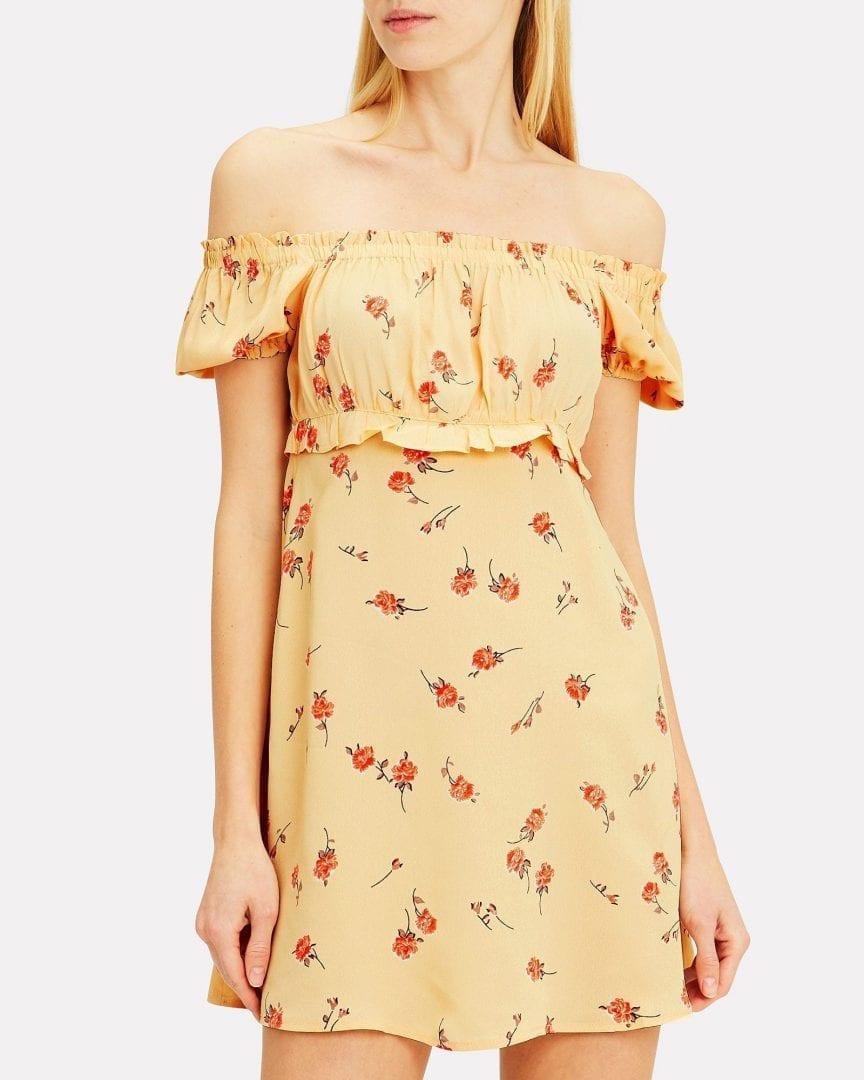 FLYNN SKYE Lou Mini Yellow / Floral Printed Dress