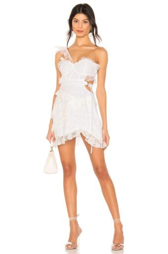 FOR LOVE & LEMONS Lucien One Shoulder White Dress