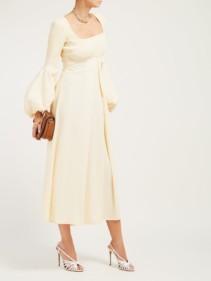 FRANÇOISE Balloon-sleeve Empire-line Crepe Midi Ivory Dress