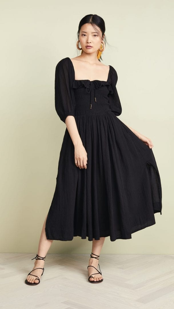 89a8713a6f8ba Oasis Black Floral Midi Dress - raveitsafe