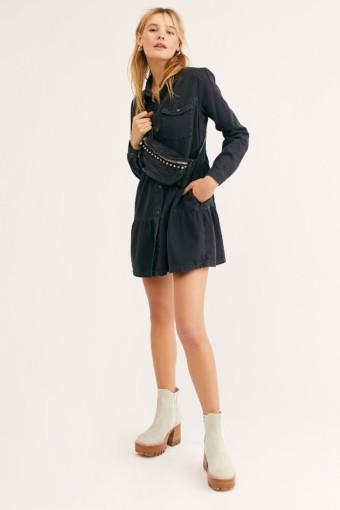 FREEPEOPLE Nicole Denim Shirt Black Dress