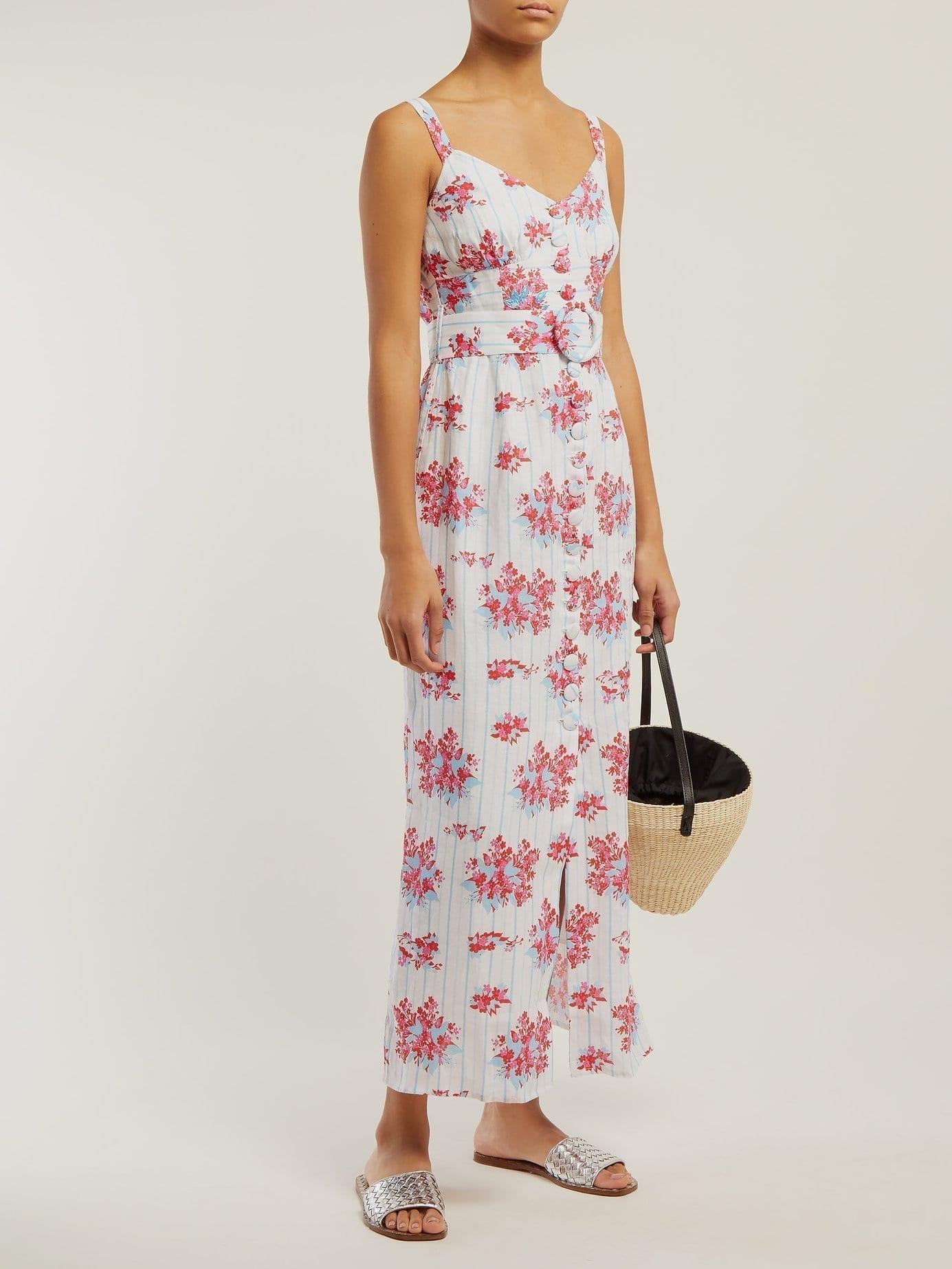 GÜL HÜRGEL Stripe Linen Midi White / Floral Printed Dress