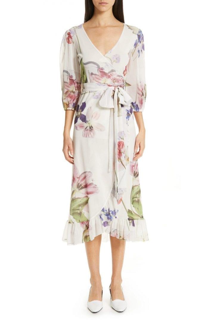 GANNI Mesh White / Floral Printed Dress
