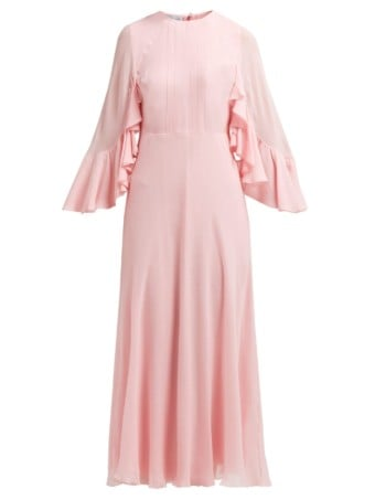 GIAMBATTISTA VALLI Cape Sleeve Silk Georgette Pink Gown