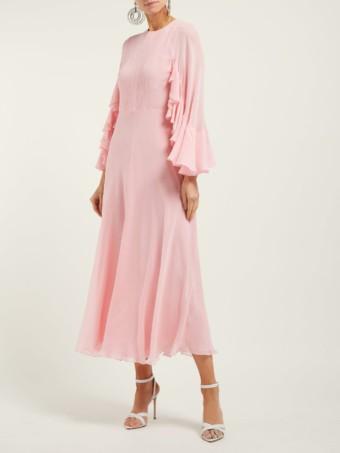 GIAMBATTISTA VALLI Cape Sleeve Silk Georgette Pink Gown