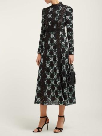 GIAMBATTISTA VALLI Lace-insert Floral Guipure-lace Black Gown