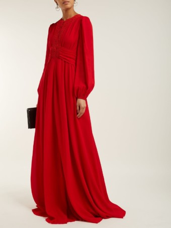 GIAMBATTISTA VALLI Macramé Lace And Crepe Red Gown