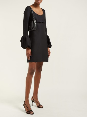 GIAMBATTISTA VALLI Scoop-neck Bubble-cuff Crepe Mini Black Dress