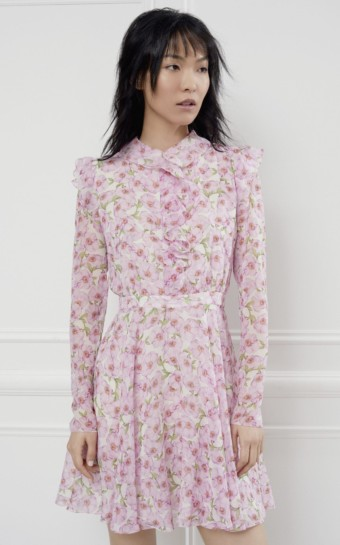 GIAMBATTISTA VALLI Silk-Chiffon Mini Pink / Floral Printed Dress