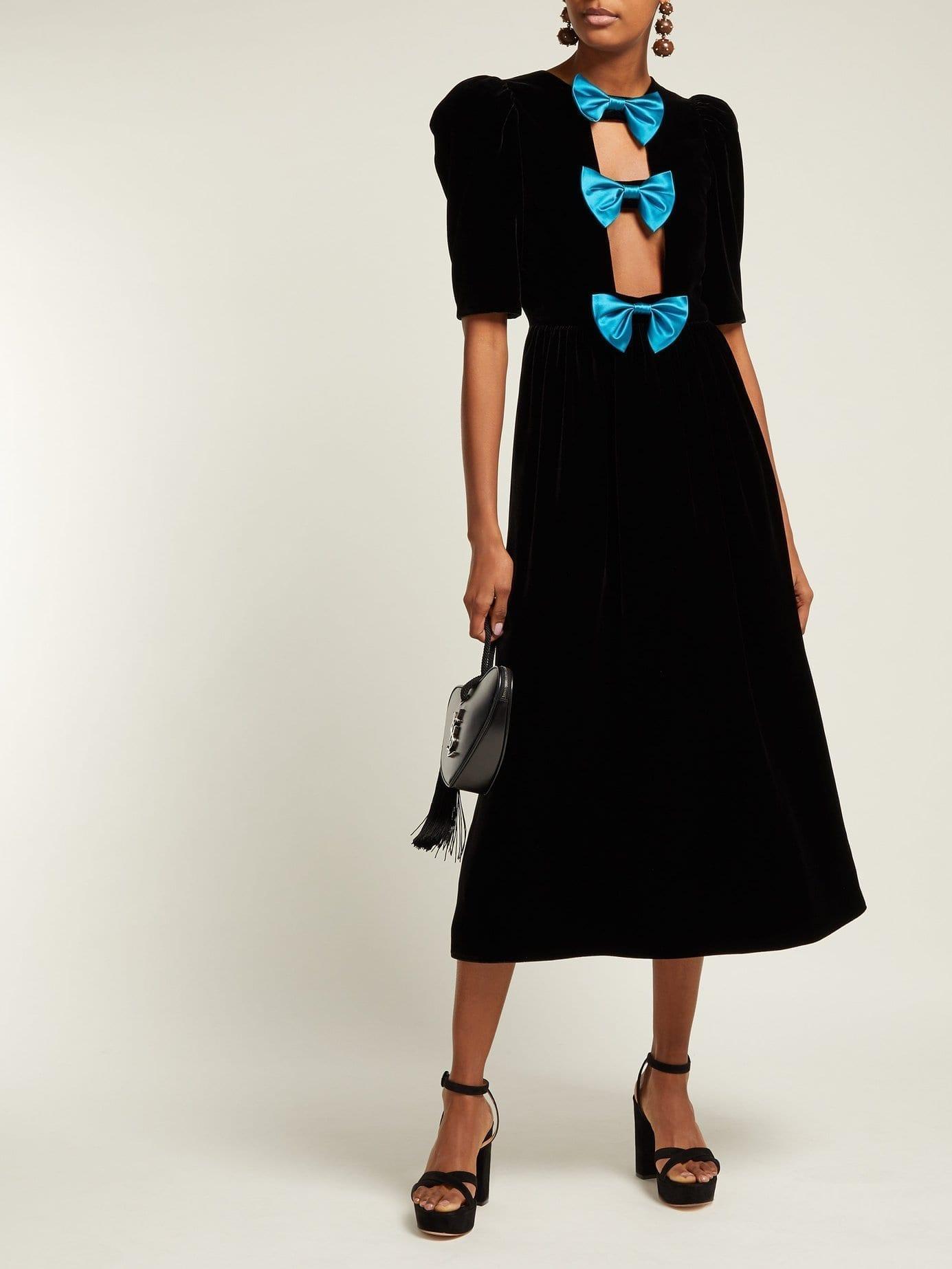 GUCCI Bow-embellished Velvet Black Gown