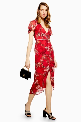 HOPE & IVY Midi Red / Floral Fitted Dress